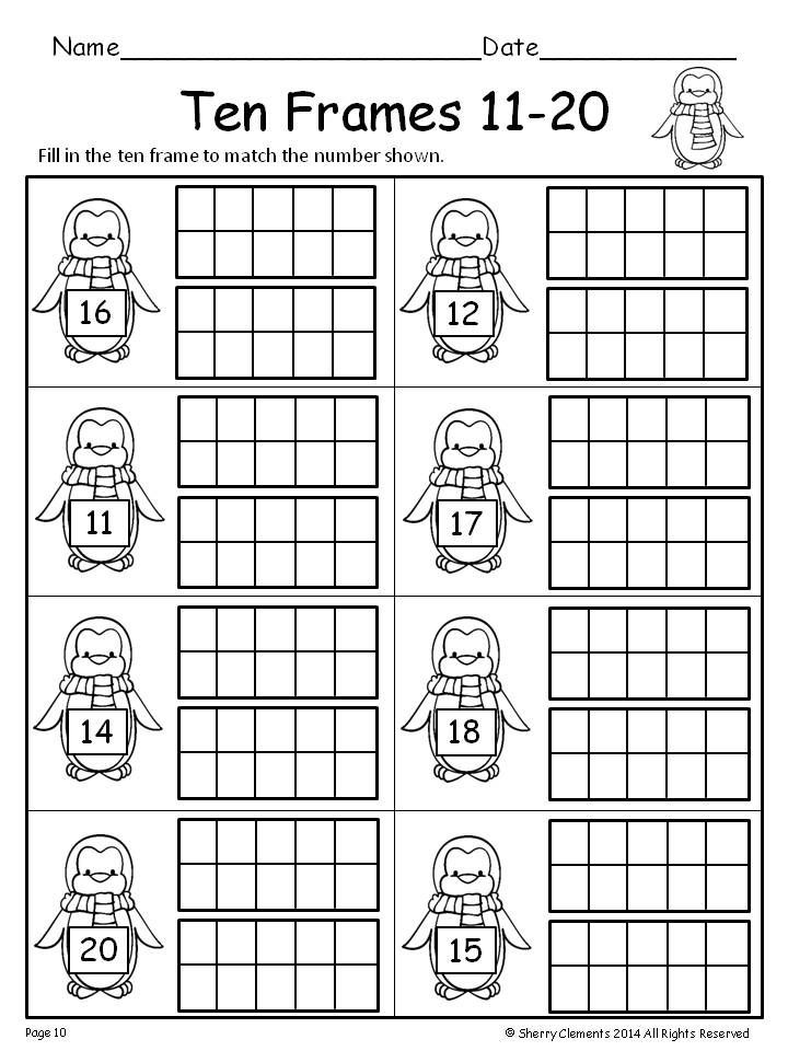Ten Frame Worksheets for Kindergarten Ten Frames 11 20 Freebie