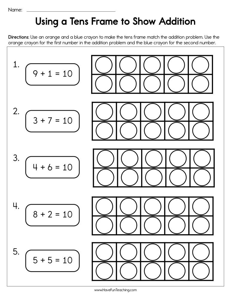 Ten Frame Worksheets for Kindergarten Using A Tens Frame to Show Addition Worksheet