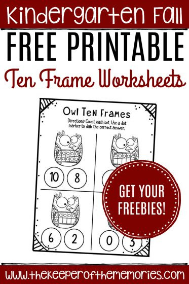 Ten Frame Worksheets Kindergarten Free Printable Owl Ten Frame Worksheets