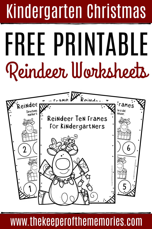 Ten Frame Worksheets Kindergarten Free Printable Reindeer Ten Frame Kindergarten Worksheets