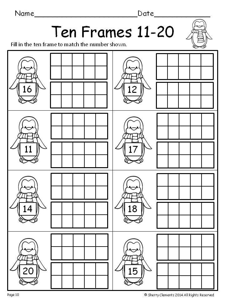 Ten Frame Worksheets Kindergarten Ten Frames 11 20 Freebie