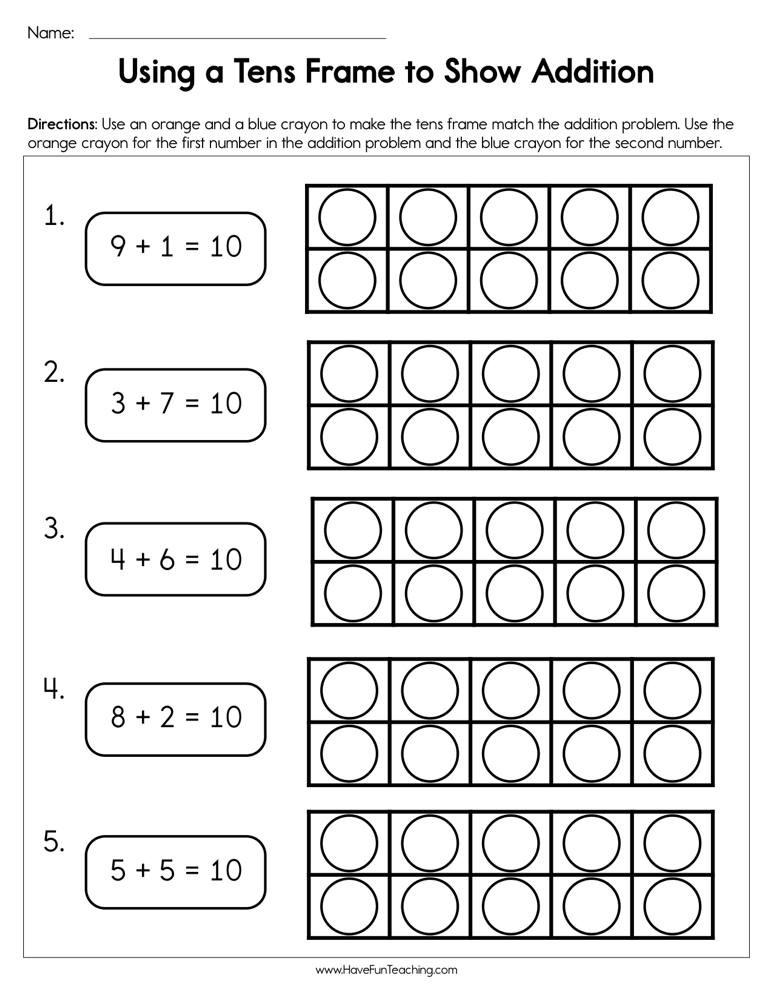 Ten Frame Worksheets Kindergarten Using A Tens Frame to Show Addition Worksheet