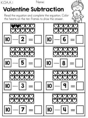 Ten Frame Worksheets Kindergarten Valentine Subtraction with Heart Ten Frames Part Of the