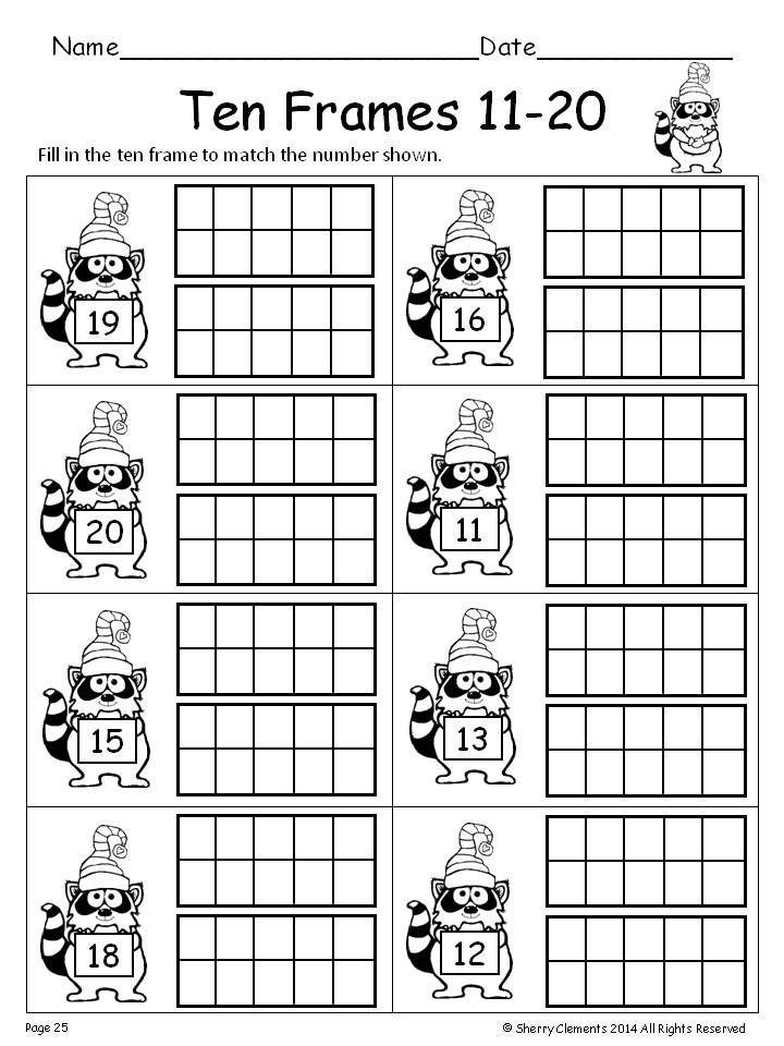 Ten Frame Worksheets Kindergarten Winter Ten Frames 11 20