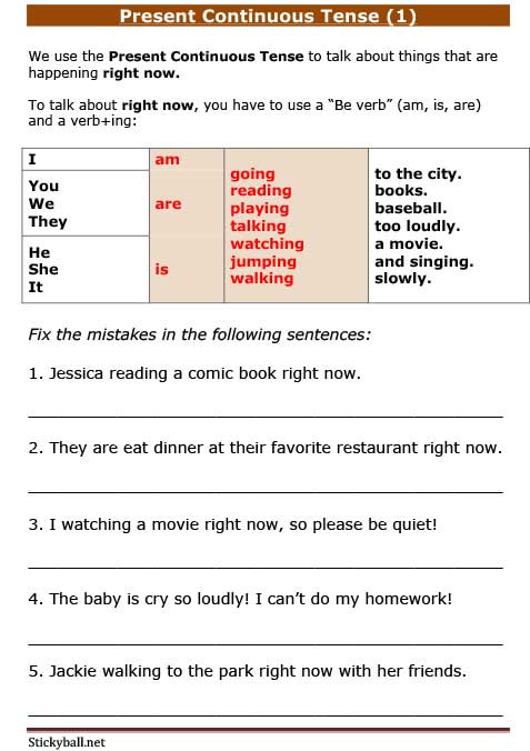 Tenses Worksheets for Grade 5 Esl Grammar Introduction to Present Continuous Tense