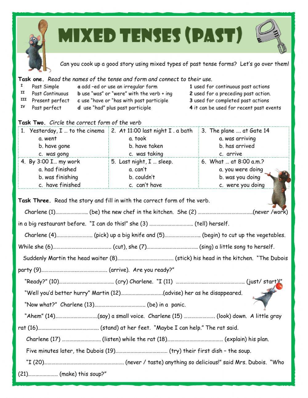 Tenses Worksheets for Grade 5 Mixed Tenses Past Interactive Worksheet