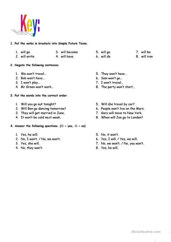 Tenses Worksheets for Grade 5 Simple Future Tense with Key English Esl Worksheets for