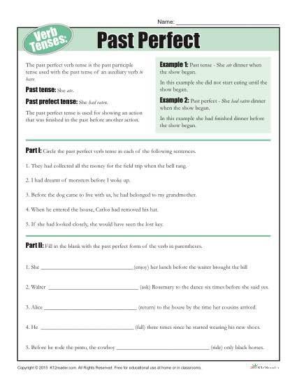 Tenses Worksheets for Grade 5 Verb Tense Worksheets