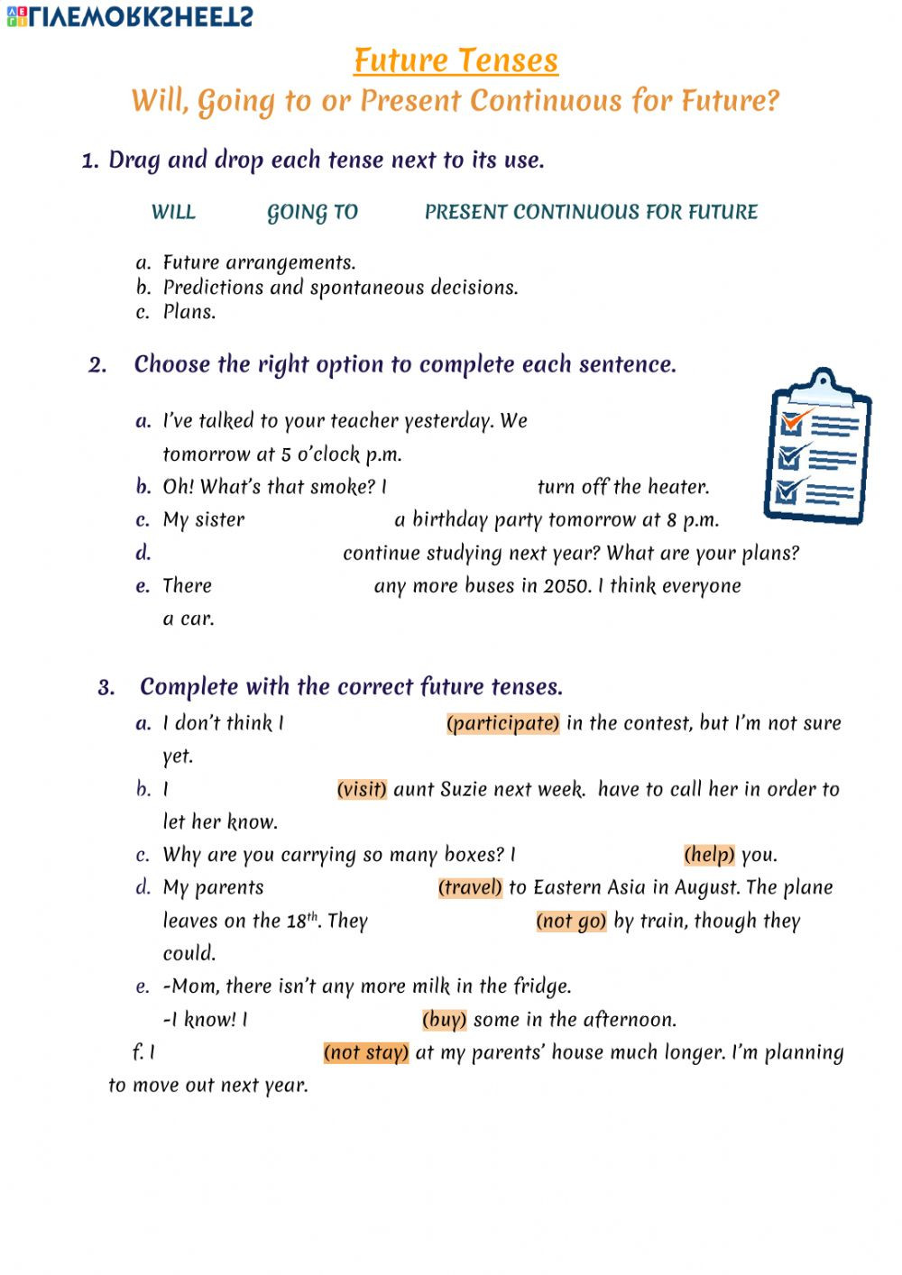 Tenses Worksheets for Grade 6 Future Tenses Online Worksheet and Pdf