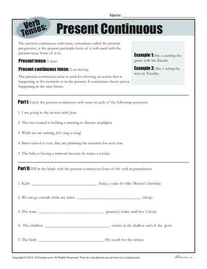 Tenses Worksheets for Grade 6 Verb Tense Worksheets Present Continuous Progressive Verbs
