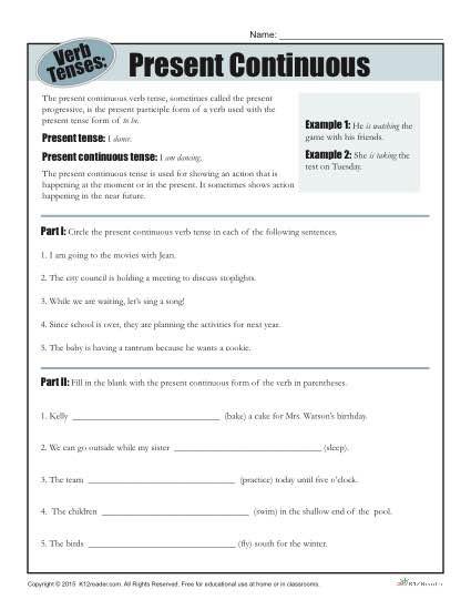 Tenses Worksheets for Grade 6 Verb Tense Worksheets Present Continuous Progressive Verbs