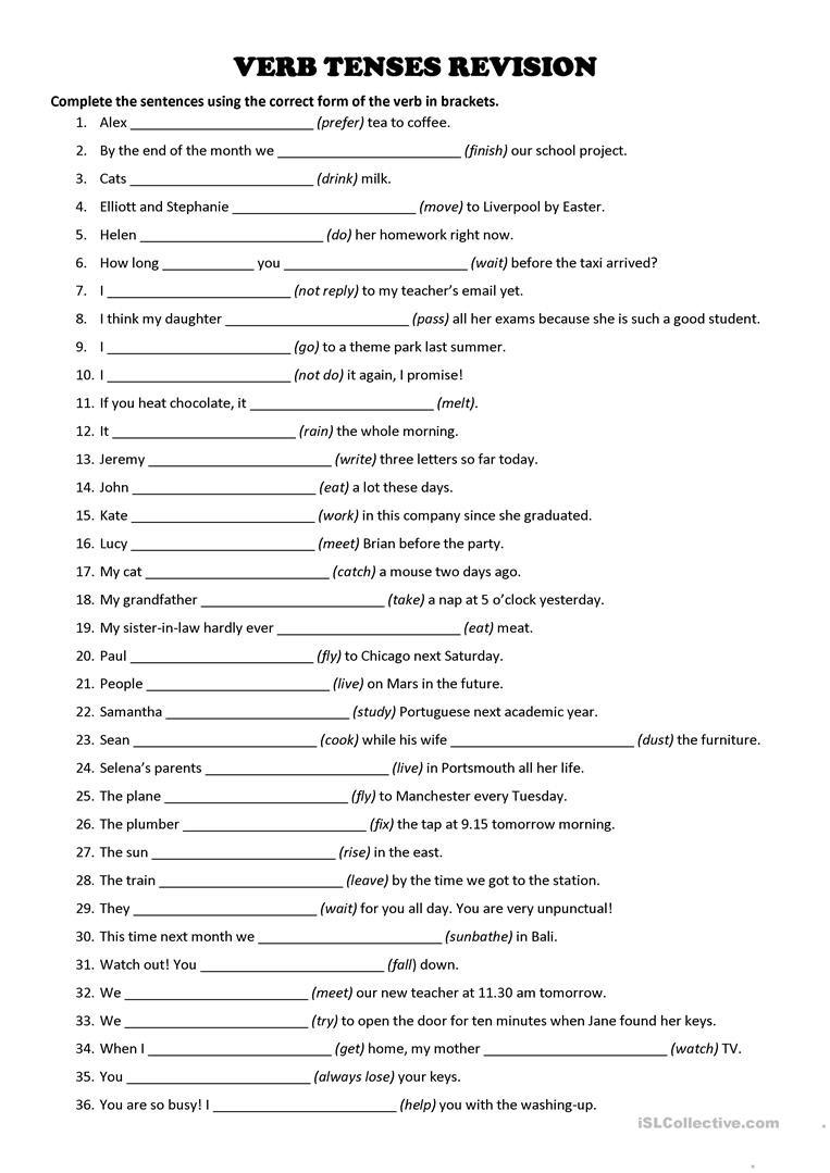 Tenses Worksheets for Grade 6 Verb Tenses Revision Exercise English Esl Worksheets for