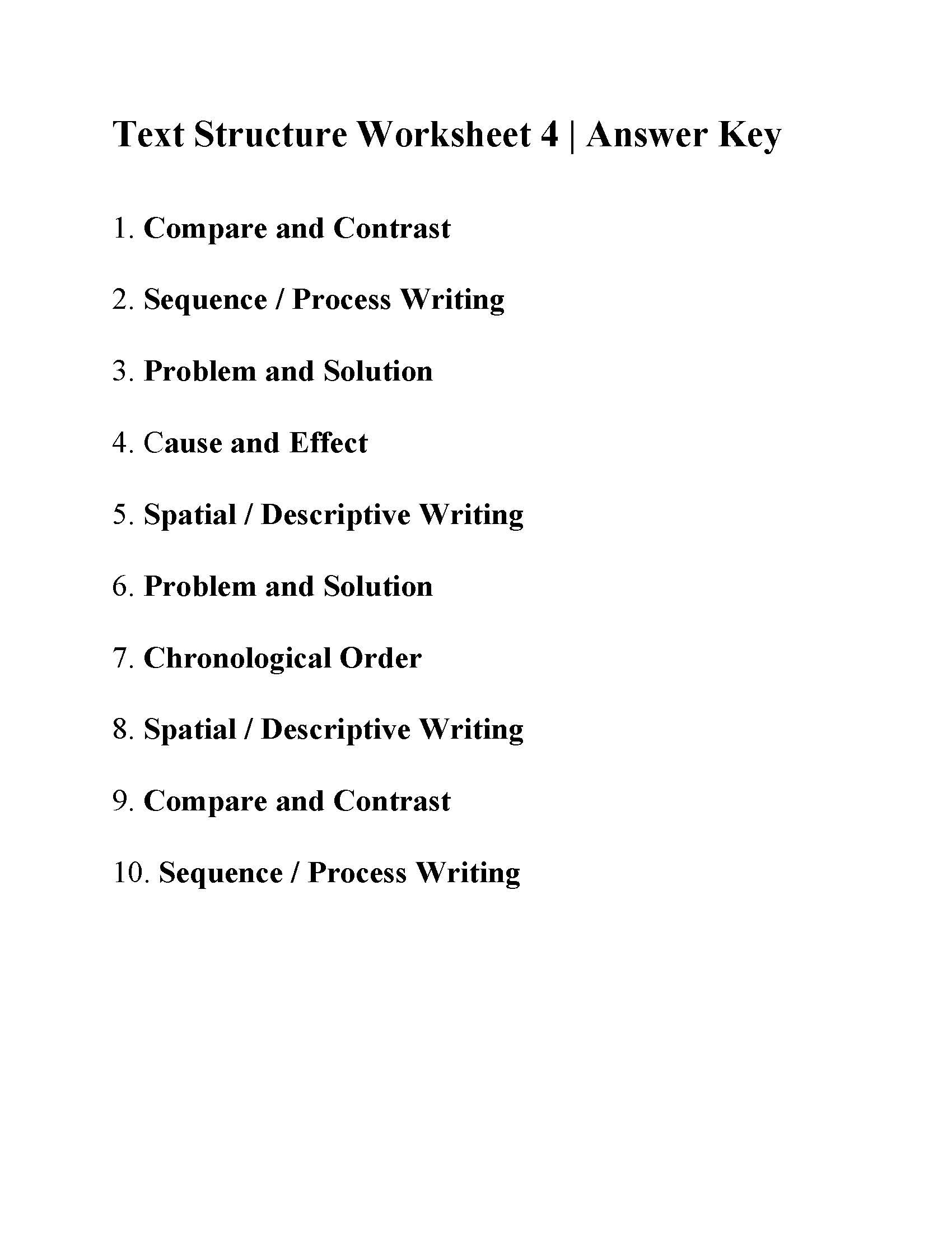 Text Structure 4th Grade Worksheets Text Structure Worksheet 4