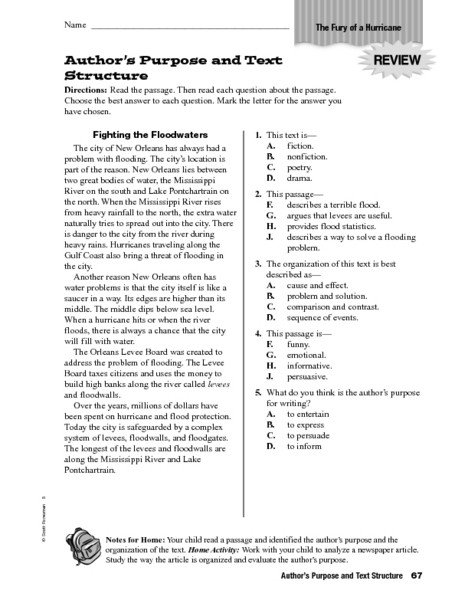 Text Structure 5th Grade Worksheets Author S Purpose and Text Structure Worksheet for 4th 5th