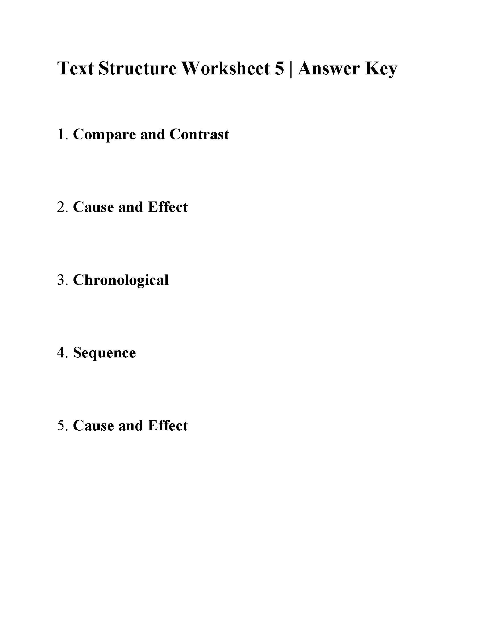 Text Structure 5th Grade Worksheets Text Structure Worksheet 5