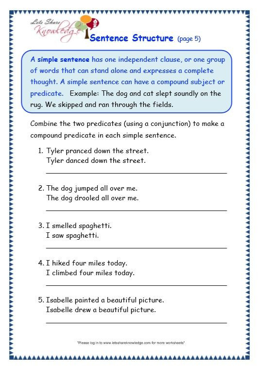Text Structure Worksheets Grade 4 Grade Grammar topic Sentence Structure Worksheets with