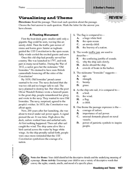 Theme Worksheet Grade 4 Visualizing and theme Worksheet for 4th 6th Grade
