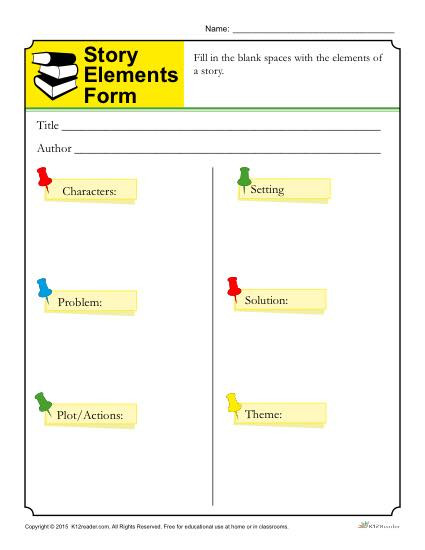 Theme Worksheets for 5th Grade Story Elements form Template for Students