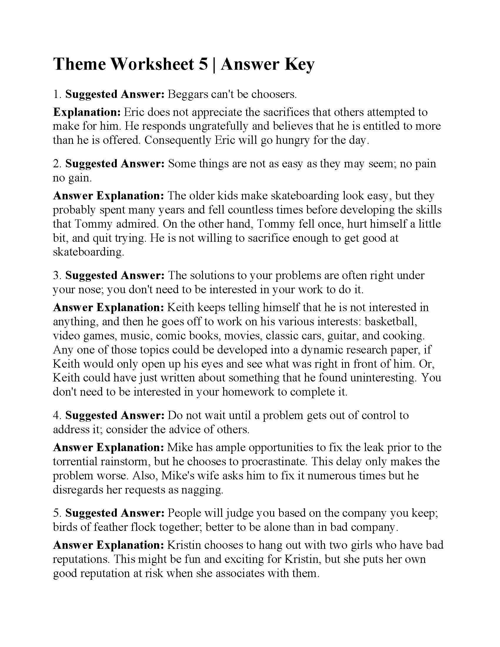 Theme Worksheets for 5th Grade theme Worksheet 5