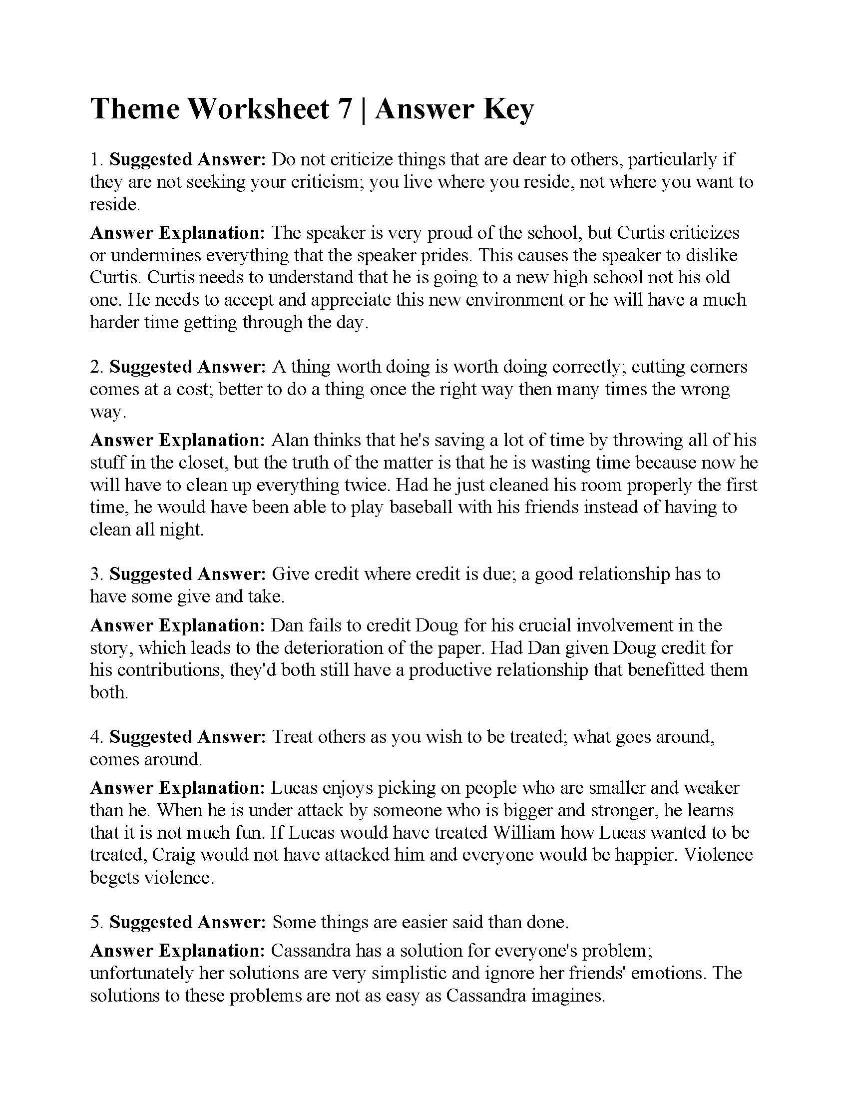 Theme Worksheets for 5th Grade theme Worksheet 7