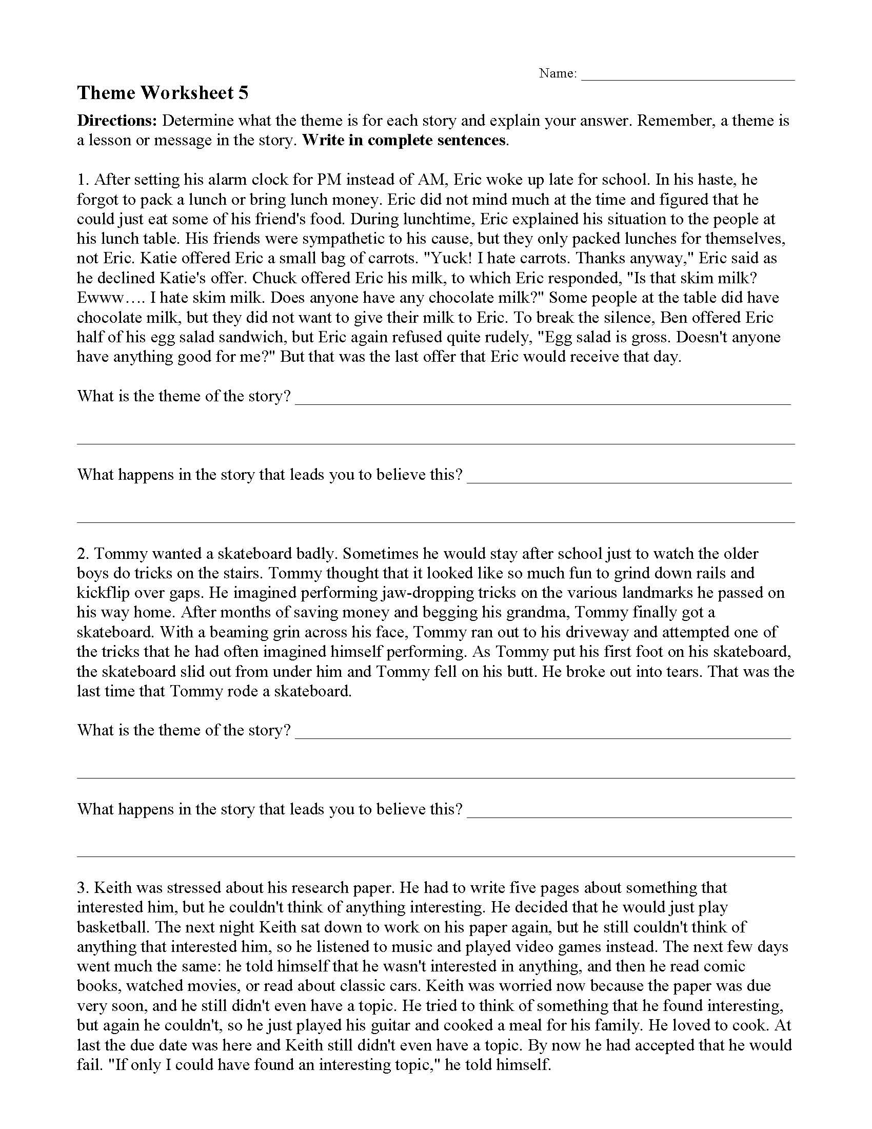 Theme Worksheets Grade 5 theme Worksheet 5