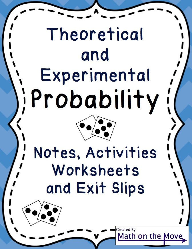 Theoretical Probability Worksheets 7th Grade Probability theoretical Experimental Notes Activities