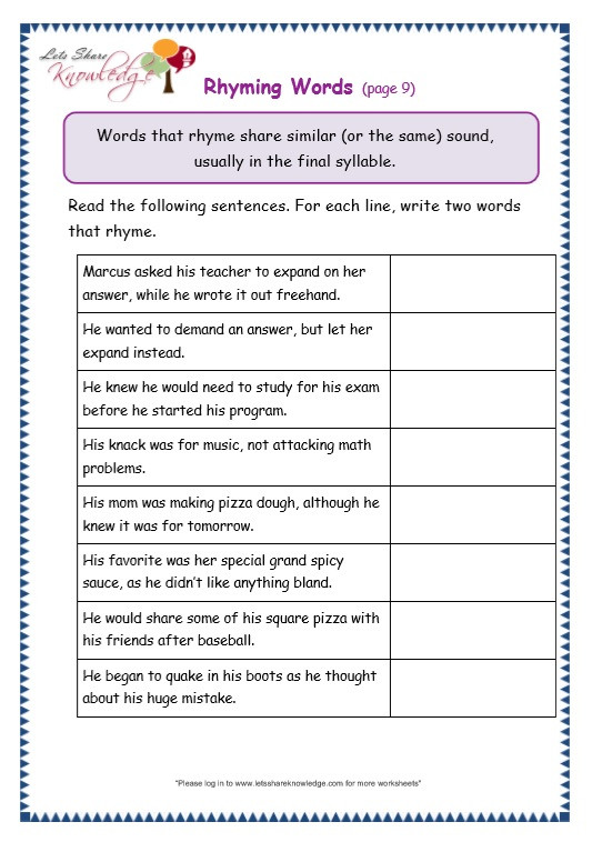 Third Grade Grammar Worksheets Grade 3 Grammar topic 32 Rhyming Worksheets – Lets