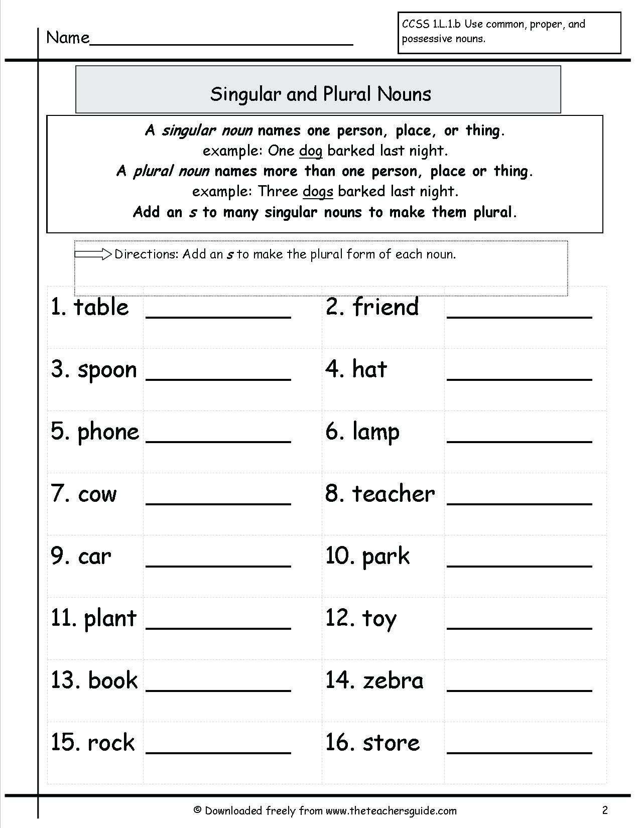 Third Grade Grammar Worksheets Noun Worksheet Singular and Plural Nouns Worksheet Grammar