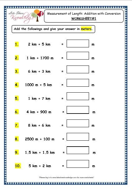 Third Grade Measurement Worksheets Grade 3 Maths Worksheets 11 3 Measurement Of Length