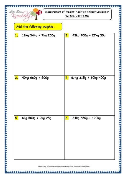 Third Grade Measurement Worksheets Grade 3 Maths Worksheets 12 3 Measurement Of Weight