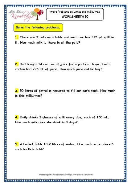 Third Grade Measurement Worksheets Grade 3 Maths Worksheets 13 6 Measurement Of Capacity