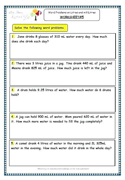 Third Grade Measurement Worksheets Measurement Word Problems 2nd Grade Measurement Word