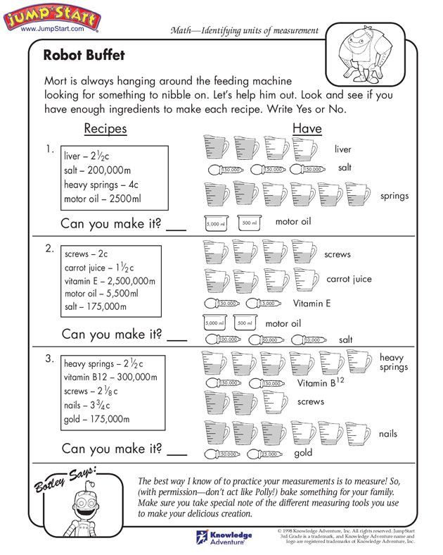 "Third Grade Measurement Worksheets Robot Buffet"" – 3rd Grade Measurement Worksheets for Kids"