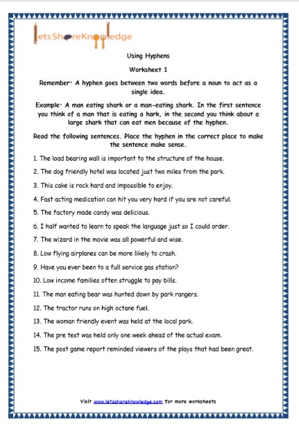Topic Sentence Worksheet 2nd Grade Grade English Resources Printable Worksheets topic Hyphens