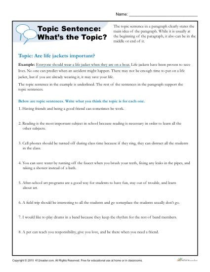 Topic Sentence Worksheet 2nd Grade topic Sentence What S the topic