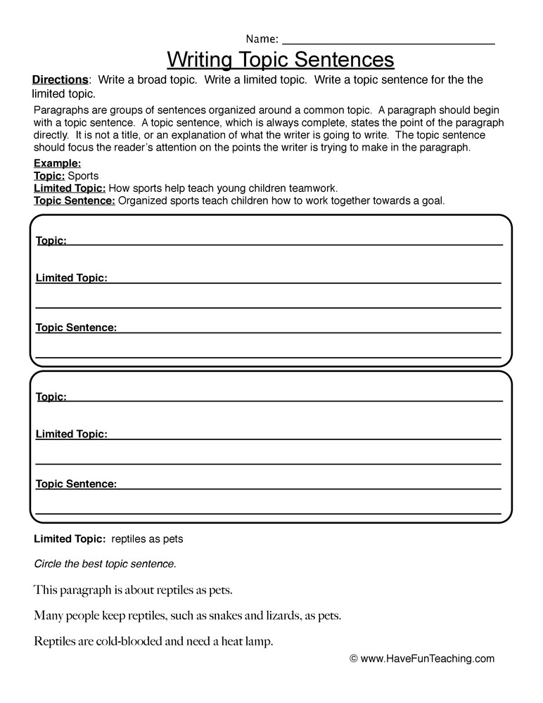 Topic Sentence Worksheet 2nd Grade Writing topic Sentences Worksheet