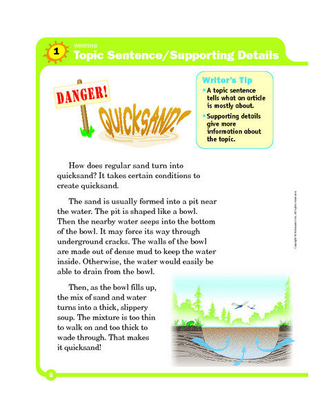 Topic Sentence Worksheets 5th Grade topic Sentence Supporting Details Graphic organizer for 3rd