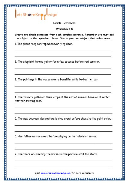 Topic Sentences Worksheets Grade 4 Grade English Resources Printable Worksheets topic Simple
