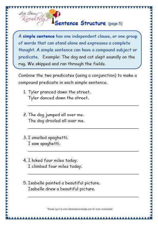 Topic Sentences Worksheets Grade 4 Grade Grammar topic Sentence Structure Worksheets with