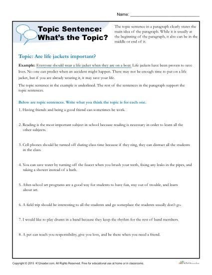 Topic Sentences Worksheets Grade 4 topic Sentence What S the topic