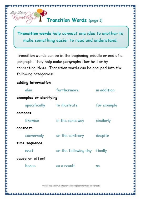 Transition Words Worksheets 4th Grade Grade 3 Grammar topic 23 Transitions Worksheets Lets