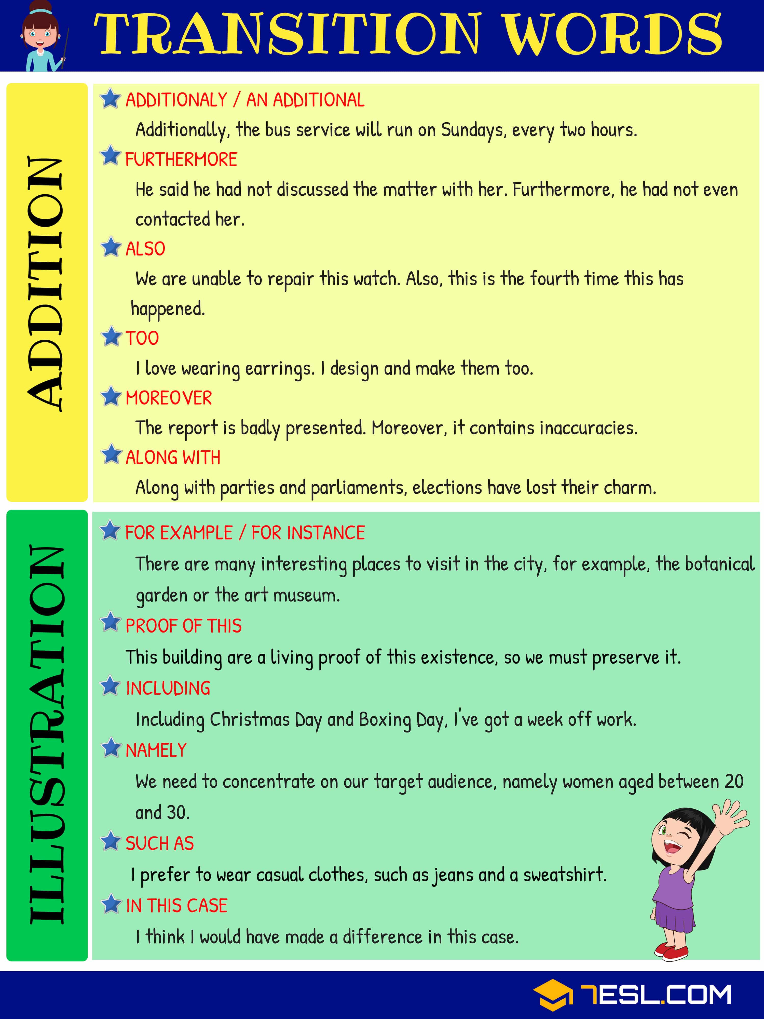Transition Words Worksheets 4th Grade Transition Words and Phrases Useful List Types and