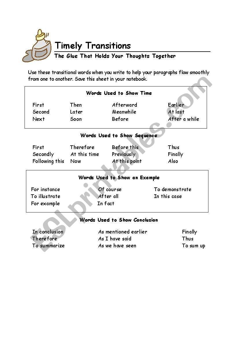 Transition Words Worksheets 4th Grade Transition Words Esl Worksheet by Mdelreal214