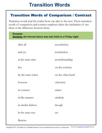 transition words parison contrast