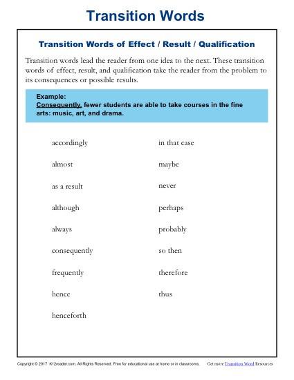 Transition Words Worksheets 4th Grade Transition Words Resources & Worksheets