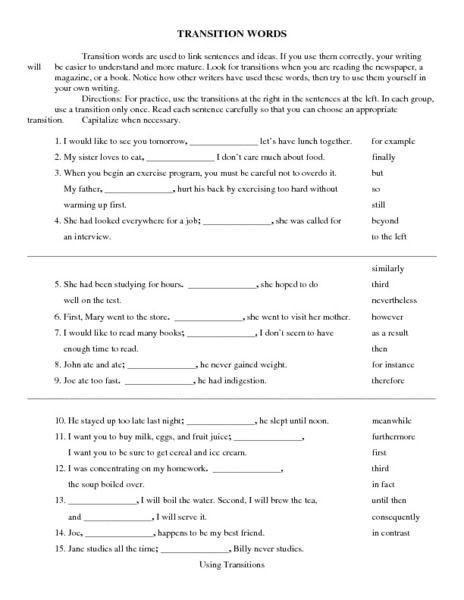 Transition Words Worksheets 4th Grade Transition Words Worksheet for 7th 10th Grade