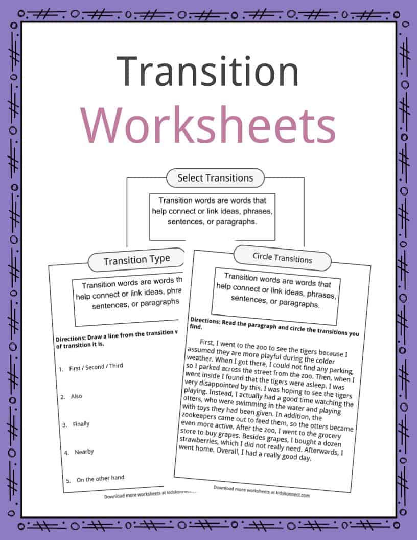 Transition Words Worksheets 4th Grade Transition Words Worksheets Examples & Definition for Kids