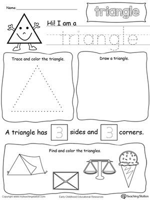 Triangle Worksheet for Kindergarten All About Triangle Shapes มีรูปภาพ