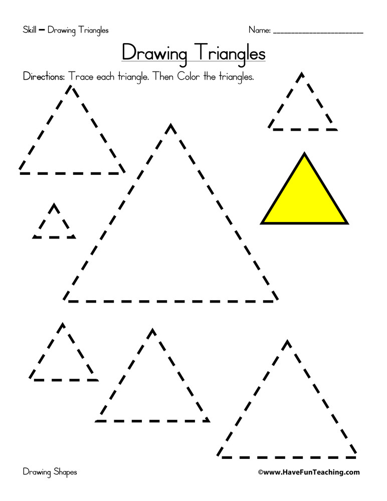 Triangle Worksheet for Kindergarten Drawing Triangles Worksheet