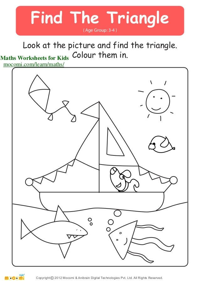 Triangle Worksheet for Kindergarten Find the Triangle Age Group 3 4 Look at the Picture and